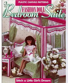 Fashion Doll Bedroom Suite:  Plastic Canvas Pattern from House of White Birches. love the lamp