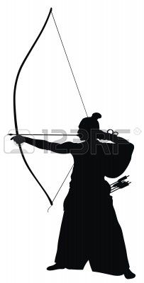 Abstract vector illustration of japanese archer silhouette Vector