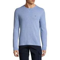 Original Penguin Men's Long Sleeve Reversible T-Shirt - Blue, Size L ($30) ❤ liked on Polyvore featuring men's fashion, men's clothing, men's shirts, men's t-shirts, blue, mens knit shirts, mens extra long sleeve shirts, mens long sleeve shirts, mens blue t shirt and mens long sleeve knit shirts