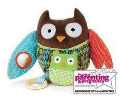 Bibs & Stuff Activity Owl - Best Newborn Toy (Silver)