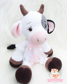 44 Awesome Crochet Amigurumi Patterns For You Kids for 2019 Part amigurumi for beginners; amigurumi for kids; Crochet Cow, Cute Crochet, Crochet Crafts, Crochet Dolls, Diy Crafts, Crochet Animal Patterns, Stuffed Animal Patterns, Crochet Patterns Amigurumi, Crochet Animals
