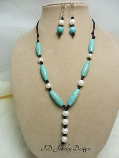 Knotted Leather Freshwater Pearl with Turquoise color Stone Necklace Set