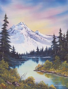 Bob Ross Artworks, Bob Ross Paintings, Landscape Drawings, Watercolor Landscape, Landscape Paintings, Oil Painting Lessons, Oil Painting Pictures, Artwork Pictures, Pinturas Bob Ross