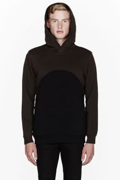 GIVENCHY Brown & black cropped layered hoodie