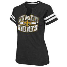 """New Orleans Saints Women's Black """"Go For Two"""" Slit-Neck Tee"""