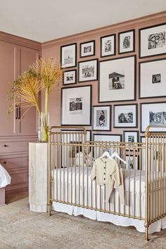 Shay Mitchell Shows Off Her Cheeky Nursery Room Decor - The nursery decor starts with a lavishing soft rose wall tone, splashed with metallic and retro accents. Nursery Room Decor, Nursery Design, Girl Nursery, Bear Nursery, White Nursery, Nautical Nursery, Shay Mitchell, Pretty Little Liars, Interior Exterior
