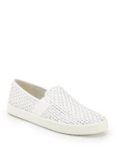 Vince - Preston Woven Leather Slip-On Sneakers