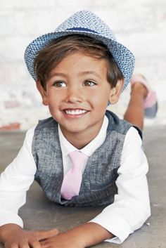 Whether a wedding or special occasion, this waistcoat and trilby combo is a winning outfit for your little one this season! Wedding Outfit For Boys, Wedding Outfits, Mini Me, Uk Online, Boy Fashion, Herringbone, Little Boys, Navy And White, Special Occasion