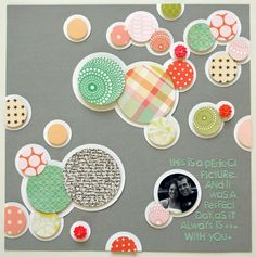 Matted circles with popped up pattern paper cirlces. Snap & Scrap Your Summer with Shannon - Two Peas