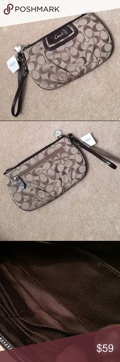 NWT✨Coach Wristlet✨ Great bag with inside credit card slots and separate pouch. Never used, but has teeny mark as seen in pic 4 near tag. Coach Bags Clutches & Wristlets