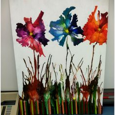 Melted crayon art - the flowers look melted too