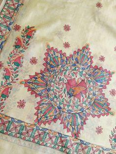 Saree Painting, Mural Painting, Fabric Painting, Hand Painted Sarees, Hand Painted Fabric, Madhubani Art, Madhubani Painting, Necktie Quilt, Saree Tassels Designs