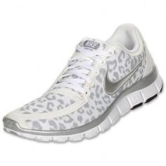 IRdFZ Nike Free 5.0 V4 Womens Leopard Training White/Silver/Grey Running Shoes