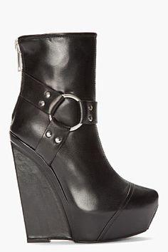 Gareth Pugh -Black Platform Harness Boots for women   SSENSE