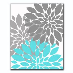 INSTANT DOWNLOAD Tiffany Blue and Gray Flower от PurpleChicklet, $6.00