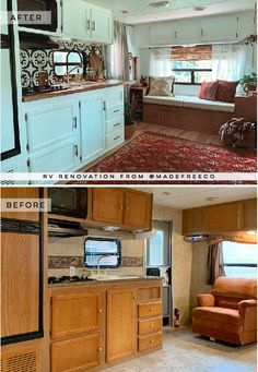 This eclectic camper will have you dreaming of the desert The muted earth tones in this eclectic camper from Alex Steltzer Van Kitchen, Tyni House, Travel Trailer Remodel, Travel Trailers, Rv Homes, Trailer Decor, Rv Interior, Vintage Camper Interior, Trailer Interior