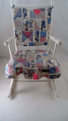 1970s Hedstrom White Child's Holly Hobbie Patchwork Wood Rocker Rocking Chair… Holly Hobbie, Rocking Chair, Kids Playing, 1970s, Children, Wood, Furniture, Memories, Home Decor