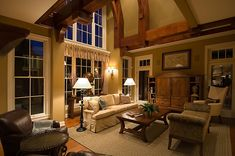 Eye-catching wood beams towering over this great room | Plan 013S-0010 | House Plans and More