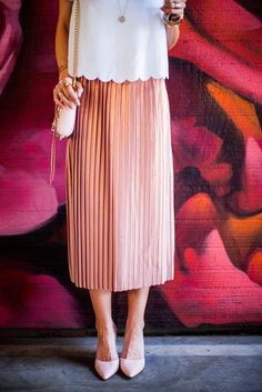 Gold and Pink pleated skirt.