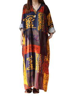 Ethnic Women Random Pattern Printing V-Neck Long Dresses at Banggood