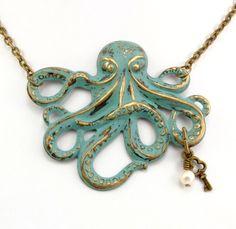 Steampunk Necklace Octopus Necklace Steam Punk Necklace Kraken Cthulhu Verdigris Jules Verne Steam Punk Jewelry By Victorian Curiosities. $25.00, via