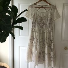 Lace Graduation dress Worn once for graduation! Just like new, this chic graduation dress is perfect for those who love lace. It comes with a slip, tool layer for the skirt and lace outer layer. Comfortable, cute and elegant! Anthropologie Dresses
