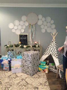 Boho chic baby shower. Everyone loved the teepee!