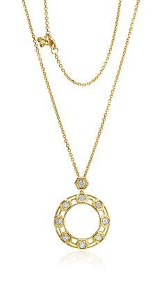 "18kt Yellow Gold & Diamond ""B"" Large Pendant 9 Rd Diamonds 1.90ct , 24"" Length w/Bee Tag"