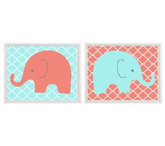 Elephant Nursery Wall Art Print - Coral Aqua Decor - Children Kid Baby Girl Room Customize- Wall Art Home Decor Set (2) 8x10 Print via Etsy