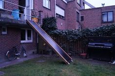 Balcony Slide : 6 Steps (with Pictures) - Instructables Side Borders, Metal Slide, Take The Stairs, Back Deck, Backyard Projects, Wood Watch, Sunny Days, Cosy, Beams