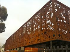 Corten, laser cut screens. Private residence. Perth, Western Australia. Joe Chindarsi Architect.
