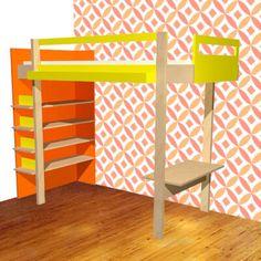 Hoogslaper maken | maak zelf je hoogslaper of stapelbed Double Loft Beds, Build A Loft Bed, High Beds, Outdoor Sofa Sets, Stylish Beds, Modern Lounge, Cute Room Decor, Diy Furniture Plans, Diy Design