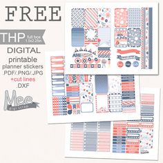 Mee scrapbook kits free download: Free planner stickers- 4th of July theme
