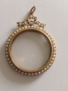 """9CT GOLD! SEEMS TO HAVE THE """"URN"""" MARK TOGETHER WITH MURRLE BENNET'S ONE.... Attractive Fine Murrle Bennett 9ct Gold & Seed Pearl Set Circular Glazed Locket in Jewellery & Watches, Vintage & Antique Jewellery, Vintage Fine Jewellery 
