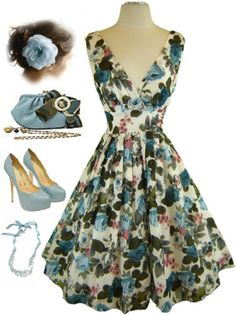 50s Style Blue Rose Bombshell Pinup Surplice Rockabilly Dress with Full Skirt | eBay