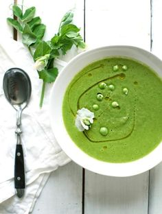 Chilled Parsley and Pea Soup #green #holiday #receipe