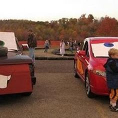 16 Ways to Decorate Your Car For Trunk or Treat... make sure to click on the link to the 16 ideas... then go to the 3rd pic (black car with pointy teeth) and click on the 'Trunk or Treat' site link. this is another site with a BUNCH of great pics from previous years!!!