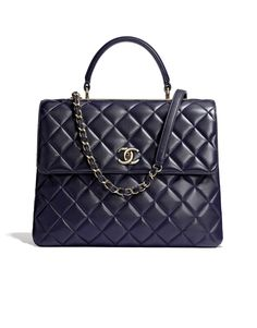Flap bag with top handle, lambskin-navy blue - CHANEL. $7,700 AUD  Dimensions: 26 x 31 x 16 cm