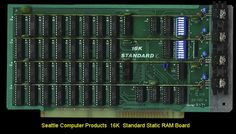 Seattle Computer Products 16K RAM Board.  I built one of these from a kit.  I remember it had an amazingly *LOW* price on $330.  SCP had a number of variations of this 16K Static RAM   board.  The board was in fact an evolution from their first 16K RAM board   the SCP-101C that also utilized TMS 4044 RAM chips.