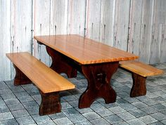 Pecan Trestle Table & Benches Dollhouse Miniature by CalicoJewels