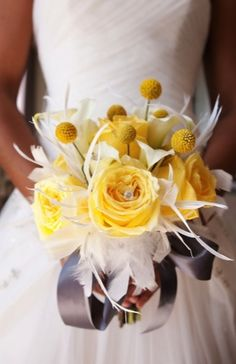 what a stunning bouquet! billy balls/craspedia, bouquets, calla lily, feather, indie, rose, silver, white, yellow, sparkly, modern , Dallas, Fort Worth, Texas
