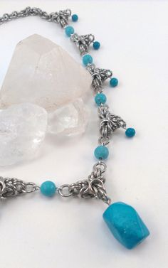 Byzantine Crown Chainmaille Necklace with Genuine Turquoise on Etsy, $25.00