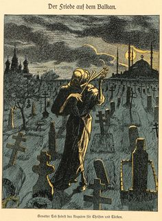 "Alfred Rethel, 'Der Friede auf dem Balkan' (Peace in the Balkans), ""Der Wahre Jacob"", #701,  May 31, 1913"