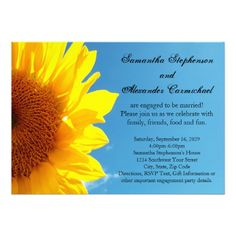 Summer Blue Sky, Yellow Sunflower Engagement Party Custom Invitations