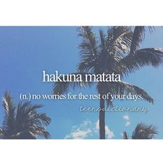 Hakuna Matata (n,) No worries for the rest of your days