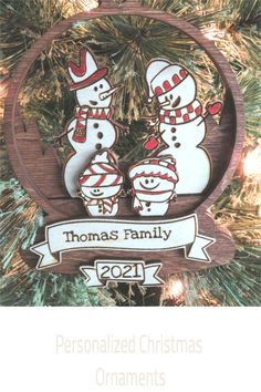 Bring the holiday to life with this adorable Wood Snowman family ornament. Personalized with family name and year. Makes an awesome gift as well. Order early!! While supplies last.