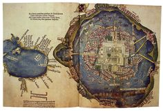 Hernando Cortes (1485-1547). Map of the Gulf of Mexico and plan of Mexico City