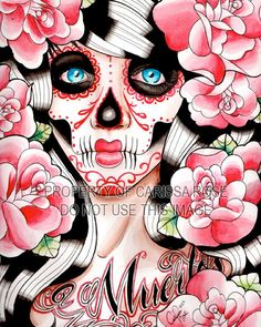 Fever - Day of the Dead Sugar Skull Girl With Tattoo Roses Art Print By Carissa Rose
