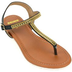 5b24404bb2f25e Alpine Swiss Womens Slingback T-Strap Gold Chain Accent Thong Sandals     You can