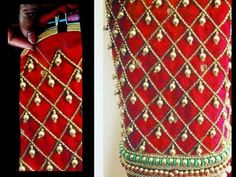 Most Beautiful Heavy Sleeves Design with Normal Stitching Needle-Same Like AARI/ Maggam Work Blouse Hand Work Blouse Design, Stylish Blouse Design, Blouse Back Neck Designs, Silk Saree Blouse Designs, Bridal Blouse Designs, Sari Blouse, Sleeves Designs For Dresses, Sleeve Designs, Hand Embroidery Dress